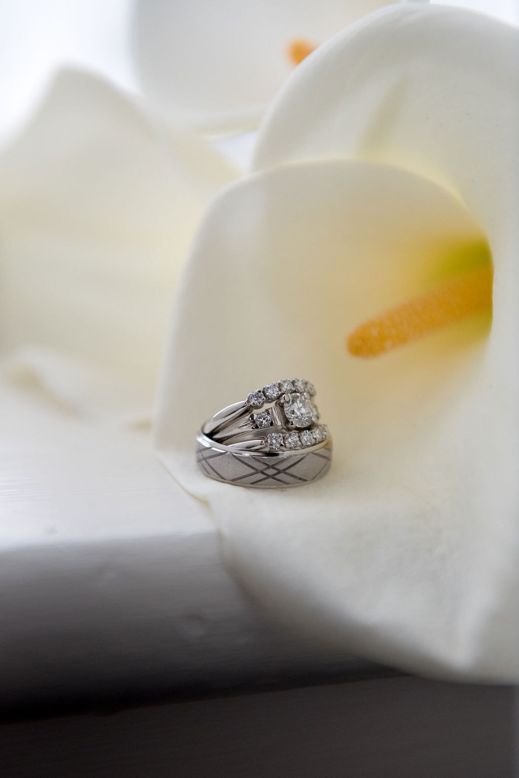 wedding rings on calla lily